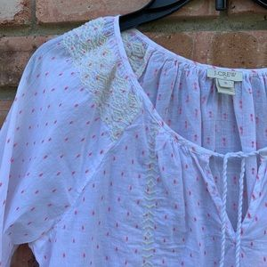 J. Crew Tops - J Crew White & Pink Embroidered Top